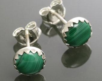 Malachite Stud Earrings. Sterling Silver. Genuine Malachite. 6mm Round. Bezel Settings. f15e005