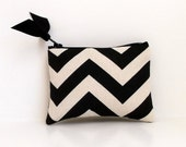 Coin Purse or Business card holder Black Chevron with Hot Pink Dot lining