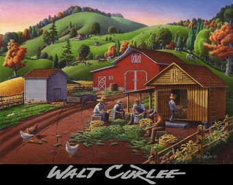 Country Farm Landscape Original Oil Painting, Folk Art Rural Americana, Appalachian Autumn Shucking Storing Corn Crib