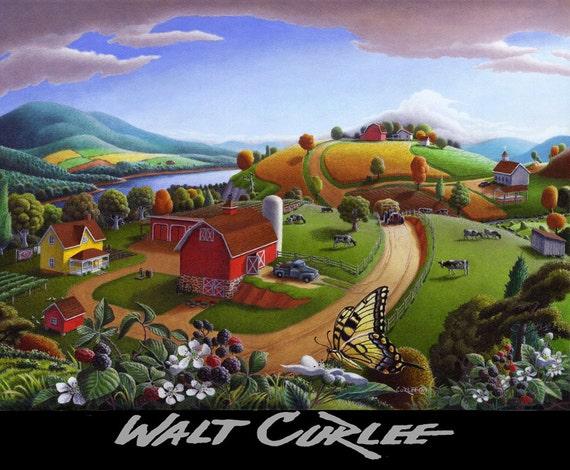 Farm Landscape Oil Painting, Original Rural Country Blackberry Patch, American Americana, Nostalgic Appalachian Folk Art, Pennsylvania, iowa