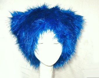 Bloo Sparkle Kozy KITTY faux fur kitty hat - Bright Blue & Shiny - men women sparkly Raver EDM fuzzy hat burningman BRC Festival size S M Xl