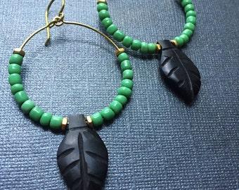 Green and Black Bone Leaf Earrings