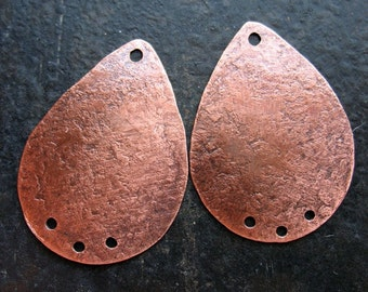 Hammered Antiqued Copper Teardrop Charms - 1 pair