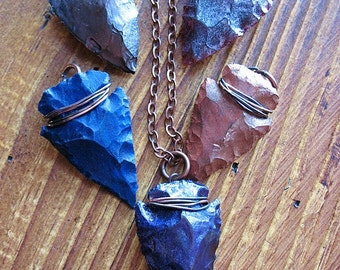 Hand Knapped Patina Agate Arrowhead Pendant  in Your Choice of Color