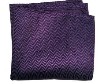 Eggplant Purple Silk Pocket Square. Elegant woven herringbone pocket silk. Brilliant aubergine shift in the light! Men's silk hanky.
