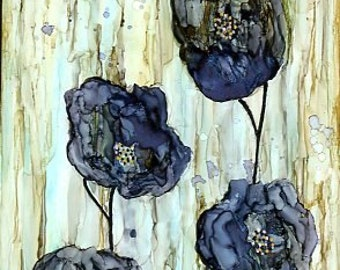 Contemporary Alcohol ink painting shades of blue mounted on hardwood deep edged canvas