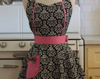 Retro Apron Black and White Floral Damask with Pink MAGGIE