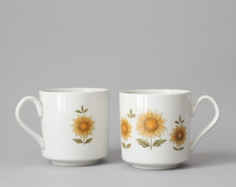 Vintage ceramic sunflower teacups - set of 2