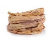 Handdyed chiffon silk ribbon recycled 10metres, Sweet Chestnut chocolate sand brown tan, textile arts
