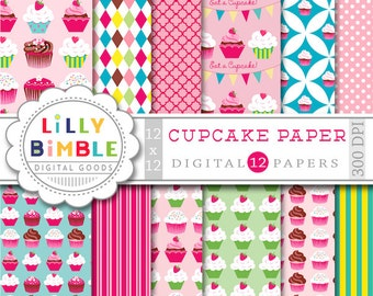 50% off Cupcake Digital scrapbook papers for birthday invites, toppers, cupcake paper, Instant Download