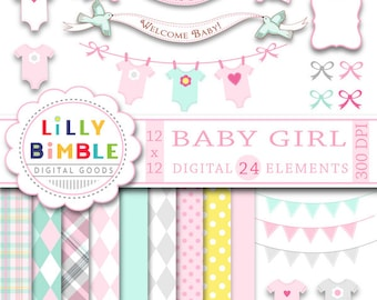 Baby Girl clipart digital papers for shower invitation, clothespin line, banner, pastel pink, bunting INSTANT DOWNLOAD