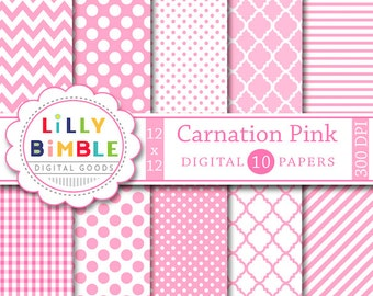 80% off Pink digital scrapbook paper, baby girl shower digital paper pack, CARNATION PINK, instant download, chevron, polka dots, commercial