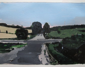 Home Plate, July 18, Original Summer Landscape Painting on Paper, Stooshinoff