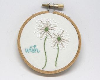 "Wish Dandelion 3"" Embroidery Hoop Art"