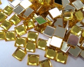 Acrylic Rhinestone Cabochon Beads, Faceted, Square, Yellow, 6mm, 500pcs