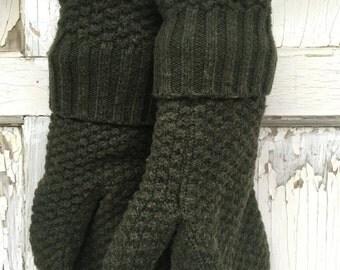 40% FLASH SALE- Wool Blend Mittens- Simple Elegance-Dark Green