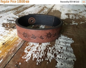 35% OFF CRAZY SALE- Custom Floral Leather Cuff-Create Your Own-Word Cuff