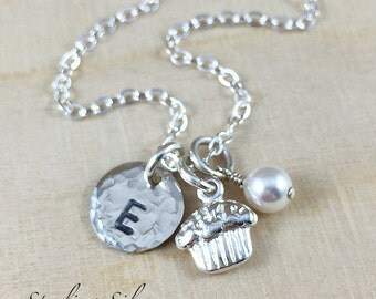 Personalized Jewelry - Monogram Necklace - Cupcake Charm Necklace - Hand Stamped Necklace - Sterling Silver - Personalized Necklace