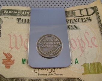 Vintage Authentic Atlanta Georgia Transit Token Money Clip Man Gift, Wedding, Groomsman Gift, Fathers Day Gift