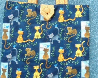 """Tote Bag, Handcrafted,Quilted, 100% Cotton Fabric""""Cats in the Window"""",14""""W x 15""""L"""