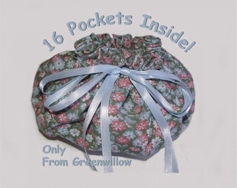 Jewelry pouch 16 pockets more pockets jewellery travel storage drawstring bag