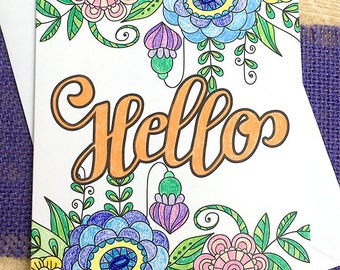 "Bright & Beautiful Hello Hand-Colored Note Card 2, Thinking of You, Keep in Touch, Friend, Just Because, Brighten Someone's Day - 4.25""x5.5"""