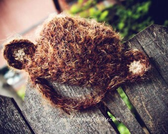 baby monkey hat, brown baby hat, chin strap hat, fuzzy baby hat, animal hat, photo prop, jungle baby hat, halloween, christmas, 3-6 mo