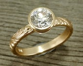 OEC Moissanite Ring - Forever Brilliant - Recycled 14k Yellow Gold - Unique, Ethical, Conflict Free Engagement or Wedding Ring - size 6.75