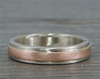 Handmade Wedding Band, Recycled 14k White and Rose Gold Two-Tone - 4mm Wide, Matte, Ethical/Eco-Friendly, Made to Order