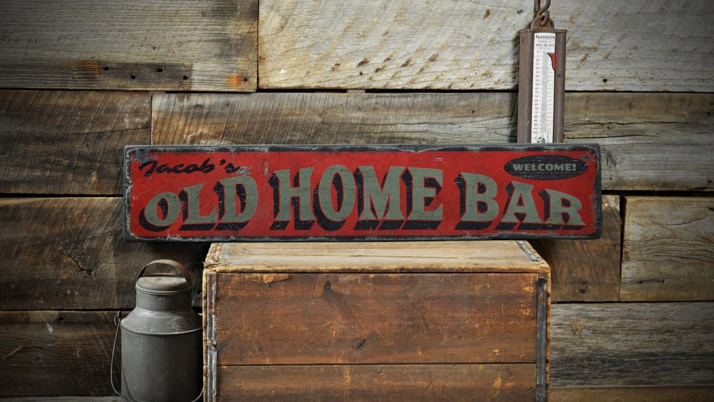 old home bar wood sign custom bartender name sign