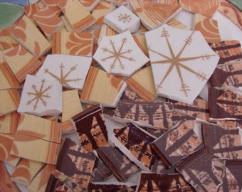 Mosaic Tiles Mix Broken Plate Art Hand Cut Pieces Supply Vintage Retro Brown 100