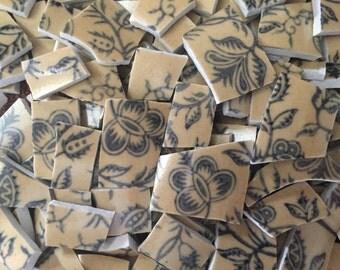 Mosaic Tiles Mix Broken Plate Art Hand Cut Pieces Supply Mix Colorful Vintage tan with Blue Florals Vase Tiles Asian 100