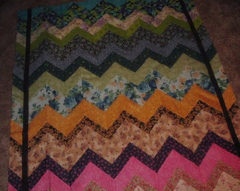 Floral Garden Chevrons Quilt Top to Finish  46 x 55 inches
