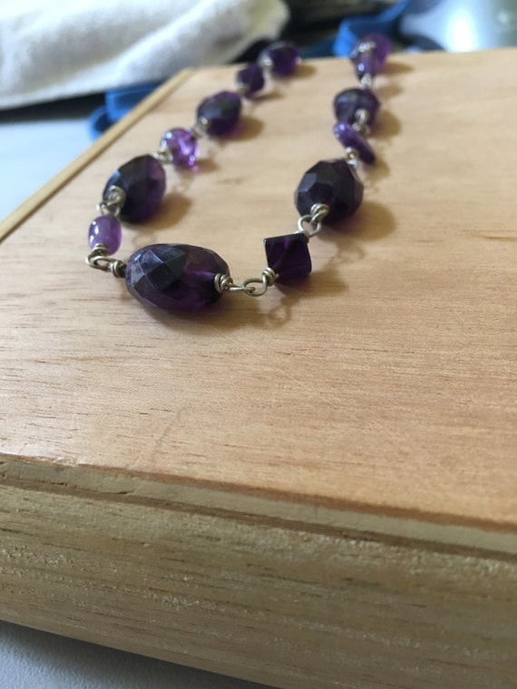 sterling silver wrapped amethyst necklace ; chain length 19 inches (adjustable)