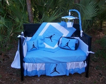 New 9 piece Michael Jordan baby Crib Bedding Set, Diaper Bag and Mobile Accessory Baby Blue and White