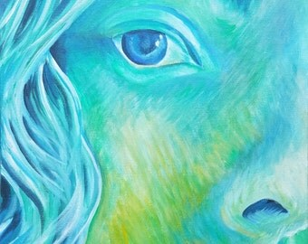 """Selfie in Green and Blue Original Acrylic Painting 12"""" x 12"""""""