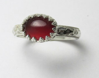 Carnelian cabochon Polished Sterling Silver Floral Daisy ring 1.09cts Size 5 1/2