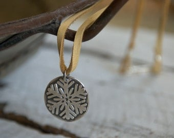 Winter - Seasons Necklace - Fine & Sterling Silver. Leather. Handmade.