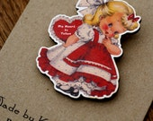 1940's My Heart Is Taken Little Girl Vintage Greetings Card Inspired Wooden Brooch Pin RESERVED (05)