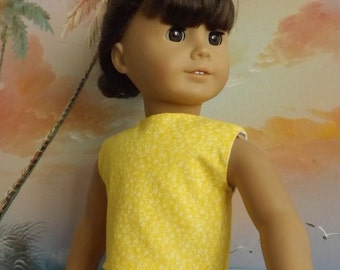 18 inch Doll Clothes Bright Yellow with Subtle Florals Modified Crop Top NEW Style