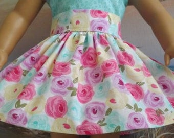 18 Inch Doll Clothes Colorful Pastel Roses Very Fully Gathered 50s Style Skirt with Waistband Medley NEW Style