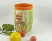 Handmade ceramic toothbrush holder,  retro tumbler vase pencil holder, 9th anniversary gift, soap dispenser  ceramics and pottery 568