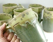Big Green Pottery Mug, IN STOCK,  Lichen Green Teacup, Unique Coffee Mugs, Ceramic Mug, Large Pottery Coffee Mug, Ceramic Coffee Cup