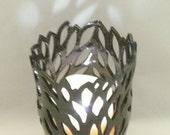 Black Clay Sculpture Art Vessel Ceramic Vase or Luminary, Candleholder, Clay Sculpture  Art Object
