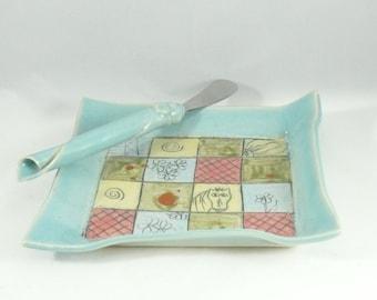 Handmade Square Salad Plate - Trinket Dish, Ceramic plate , square tray for sushi, tapas, salad, bread - spoon rest - key bowl, bread plate