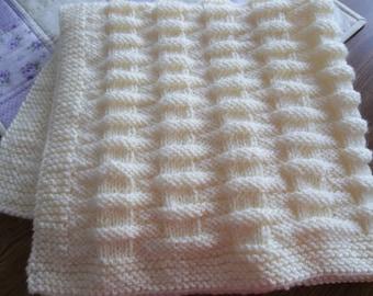 Baby Blanket Creamy Aran  Baby Blanket Hand Knitted Car Seat Blanket