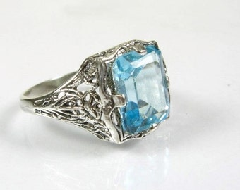 Vintage Blue Topaz Ring Filigree Gemstone Emerald Cut Sterling Silver Ring Size 7