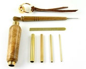 Brass Picot Gauge Set© with Oregon Myrtlewood Case and Matching Picot Hook