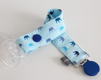 Pacifier clip - snap - enamel clip - crowns - blue - navy blue - baby king - cotton fabric - baby boy - baby gift - baby shower - dummy
