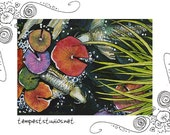 Summer Koi Original ACEO 2.5 x 3.5 Watercolor Painting Trading Card Art